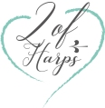 A logo of a green heart with text inside which reads '2 of Harps'