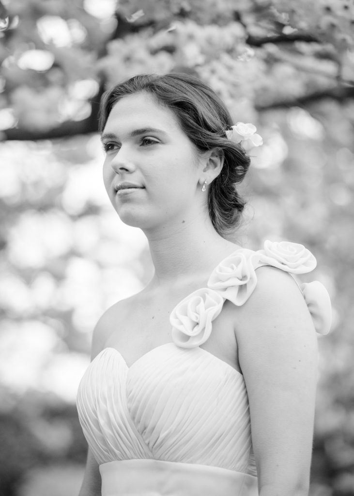Adel in cherry orchard, wedding harpist