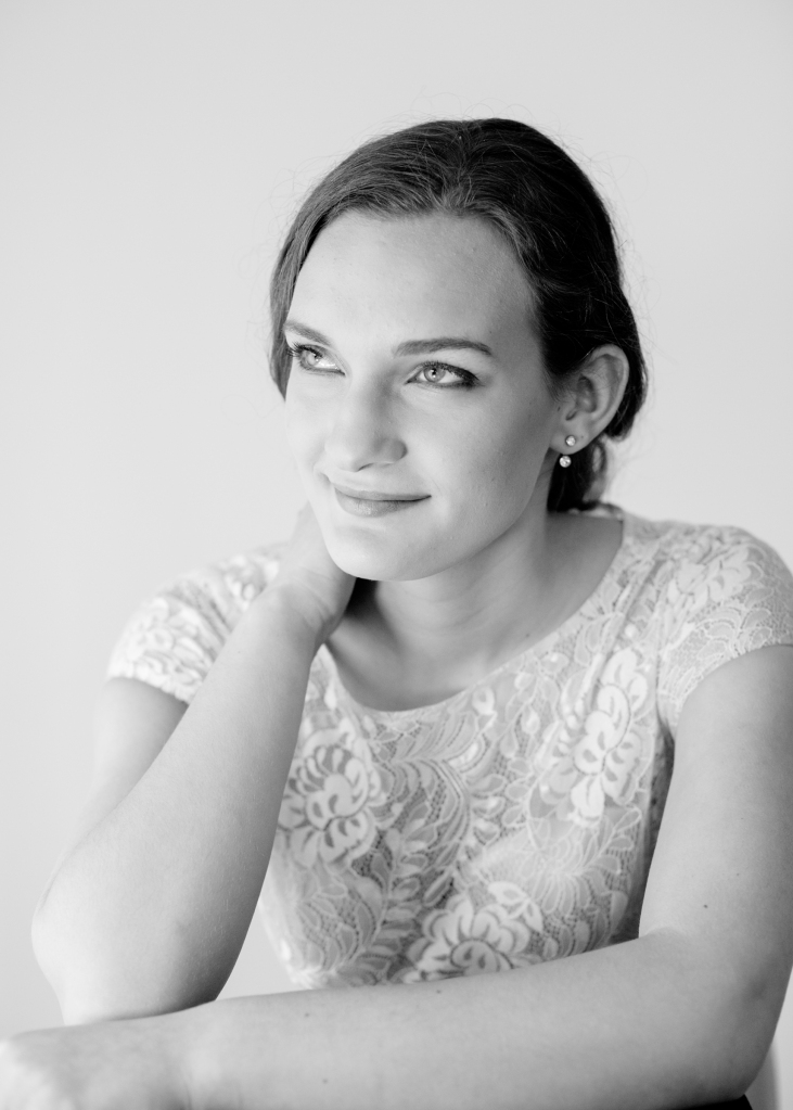 Side profile of wedding harpist Karina,