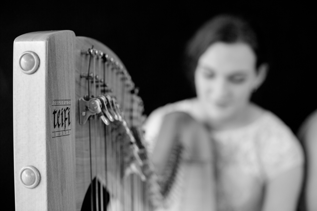 Teifi eos harp played by Karin wedding harpist blurred in background, black and white
