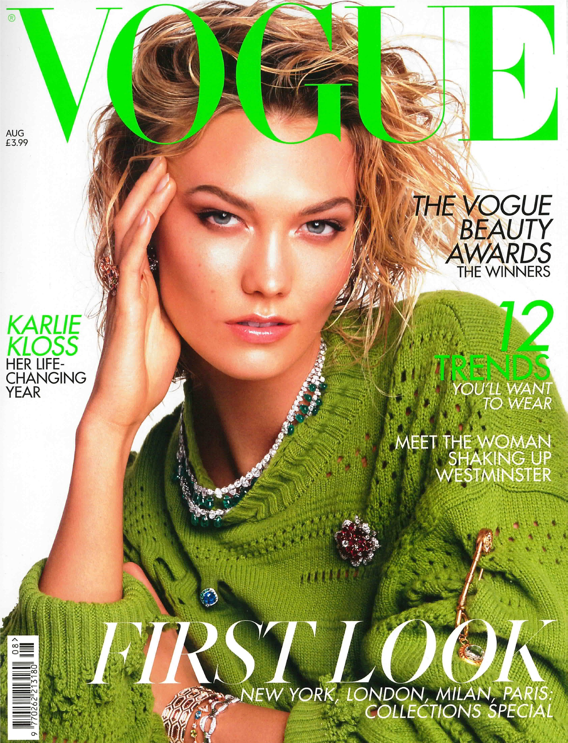 Front cover of British vogue magazine 2019 featuring Karlie Kloss