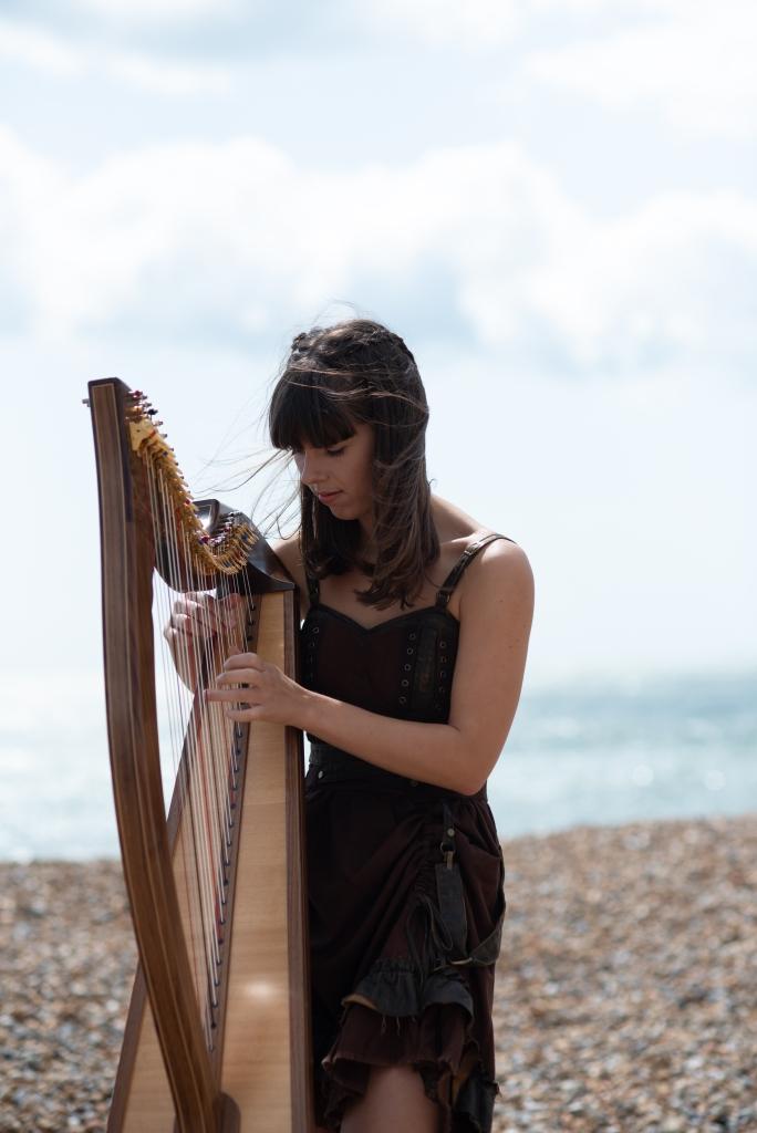 Adel Wilson professional harpist playing the harp on Sandgate beach Kent UK