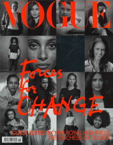 Front Cover of British Vogue Magazine Forces fir Change guest deities by Her Royal Highness The Duchess of Sussess