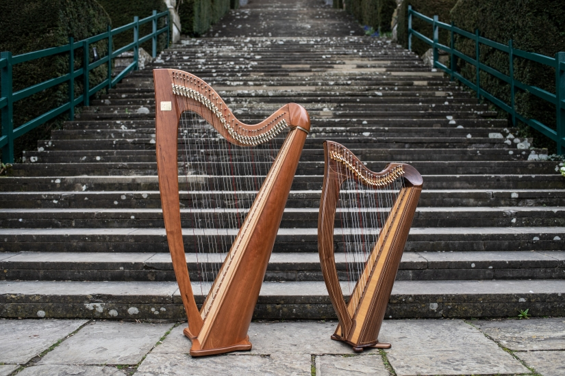 Side profile of eos harp and mark Norris 27 string harp used for weddings