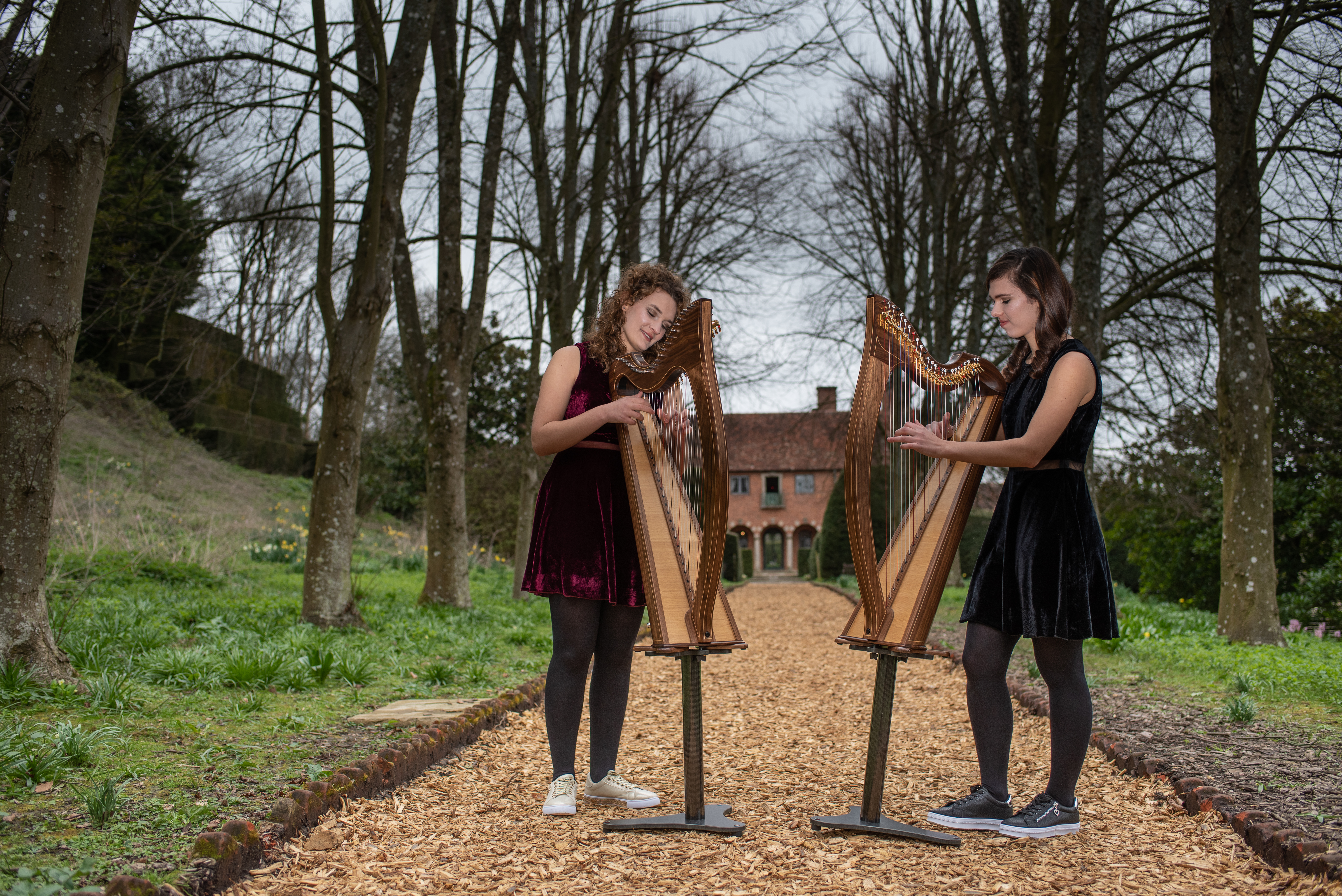 Two wedding harpists performing at Port Lympne Hotel and Reserve