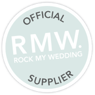 Round mint green badge rock my wedding official supplier
